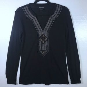 Lucky Brand M Beaded Embroidered Boho Top Blouse